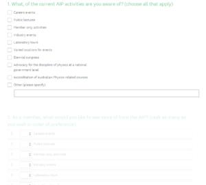 Screenshot of survey for July bulletin