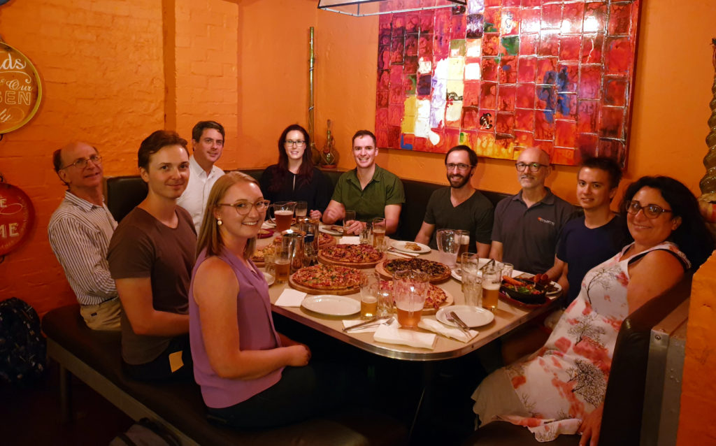 Group photo around Restaurant table